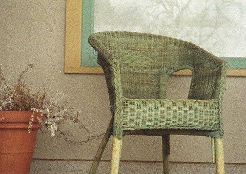 Rattan chair photographed on 110 film with sharp detail